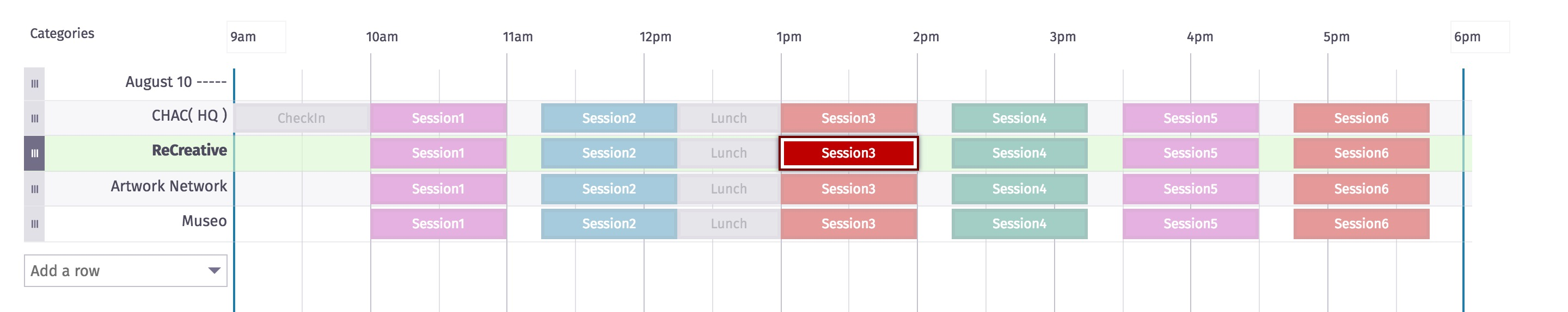 Screenshot of schedule grid